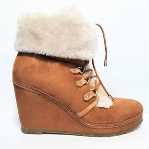 Union Bay 10 Avalanche Tan Faux Fur & Suede Wedge